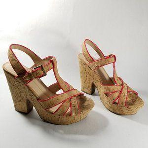 Dolce Vita T-Strap Cork Heeled Sandals